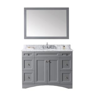 Virtu USA Elise 48 inch W x 22 inch D Vanity in Grey with Marble Vanity Top in White with White Basin and Mirror by Virtu USA