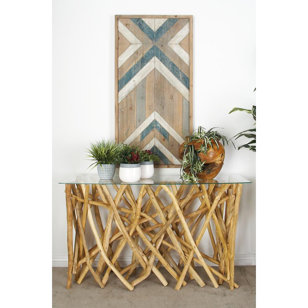 Relatively Natural Tan Teak Branch Console Table-37782 - The Home Depot AH78