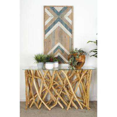 Natural Tan Teak Branch Console Table
