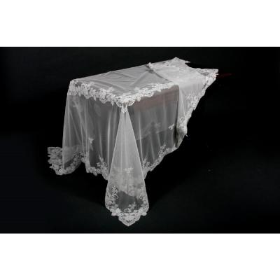80 in. x 80 in. Flower Lace Embroidered Tablecloth with Beaded Accents