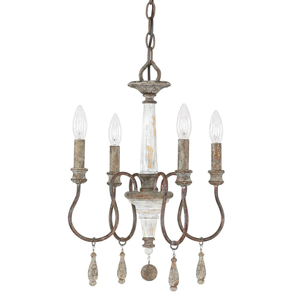 Brown chandeliers lighting the home depot 4 light french antique chandelier arubaitofo Image collections