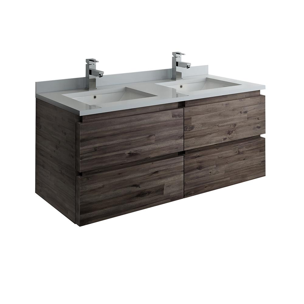 Fresca Formosa 48 In Modern Double Wall Hung Vanity Warm Gray Quartz Stone Top White With Basins