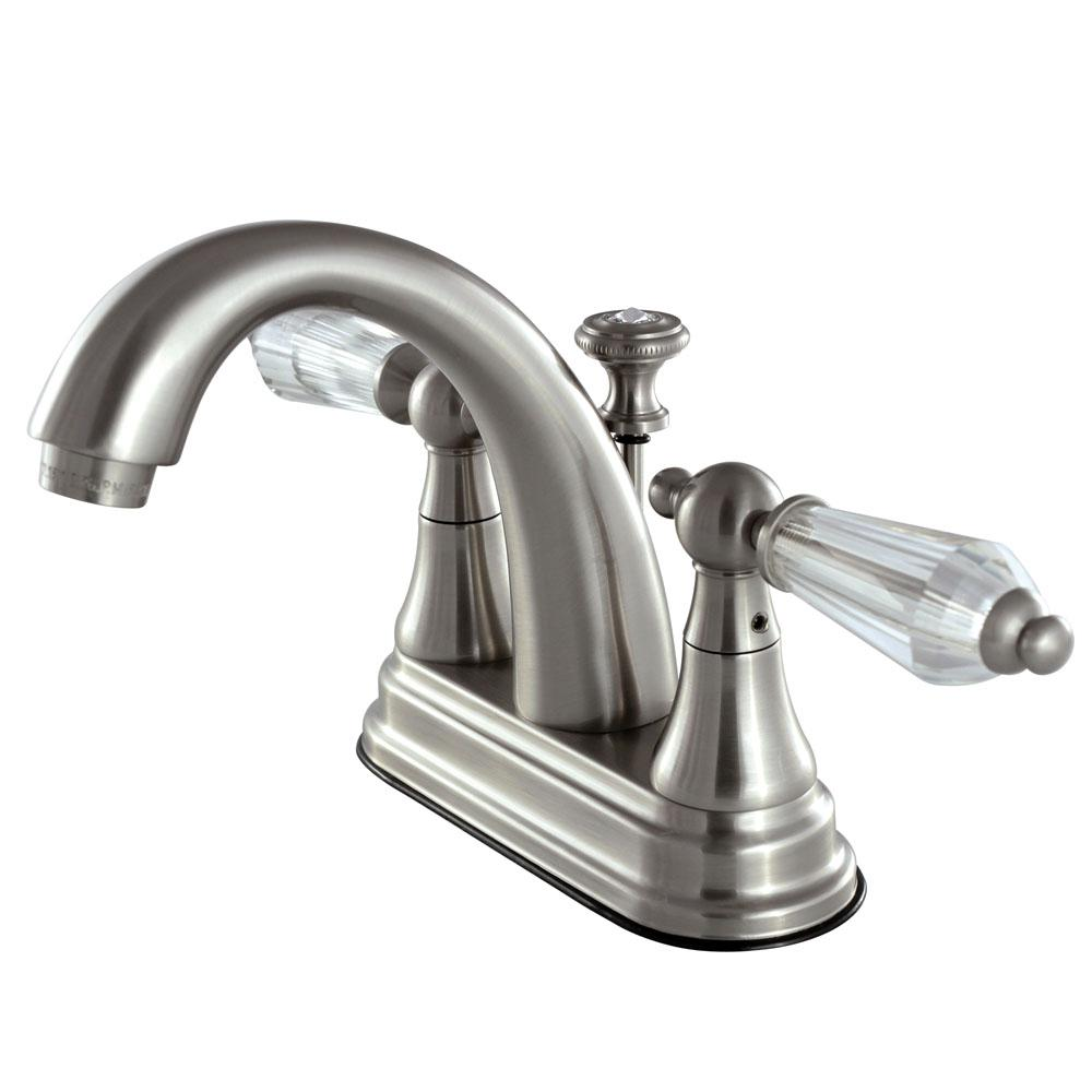 English Crystal 4 in. Centerset 2-Handle Bathroom Faucet in Satin Nickel
