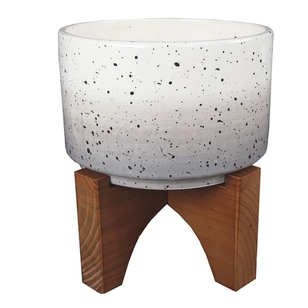 7 in. Grey Ombre W Specks Ceramic Pot on Wood Stand Mid-Century Planter