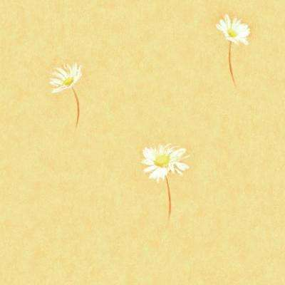 Kitchen and Bath Resource II Yellow Daisy Toss Wallpaper Sample