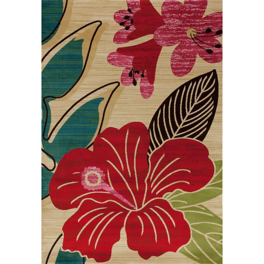Antigua Hibiscus Beige 5 ft. x 8 ft. Area Rug