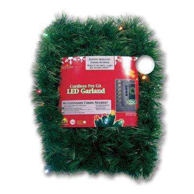 Micro Mini 18 ft. Pre-Lit LED Battery Operated Pine Garland with Multi-Colored Lights