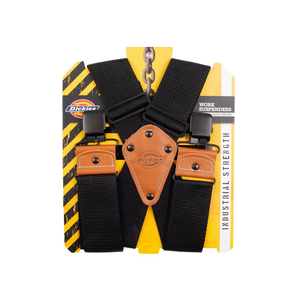 Dickies Nylon Work Suspenders, Black Ballastic Nylon Work Suspenders are easily adjustable, providing an extreme level of comfort. These durable, secure and lightweight suspenders are designed to provide ease and infinite adjustability that allows for a custom fit. Ballastic Nylon suspenders with heavy duty hardware and leather padded tabs are suited for rugged work pants and promised durability and security. Color: Black. Gender: Male.