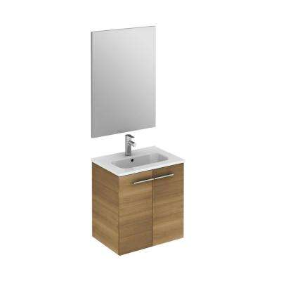 Start 19.5 in. W x 13.8 in. D x 20.4 in. H Complete Bathroom Vanity Unit in Sandy Walnut with Mirror