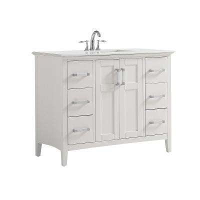 42 in. W x 21.5 in. D x 34.5 in. H Vanity in Soft White with Quartz Marble Vanity Top in White with White Basin
