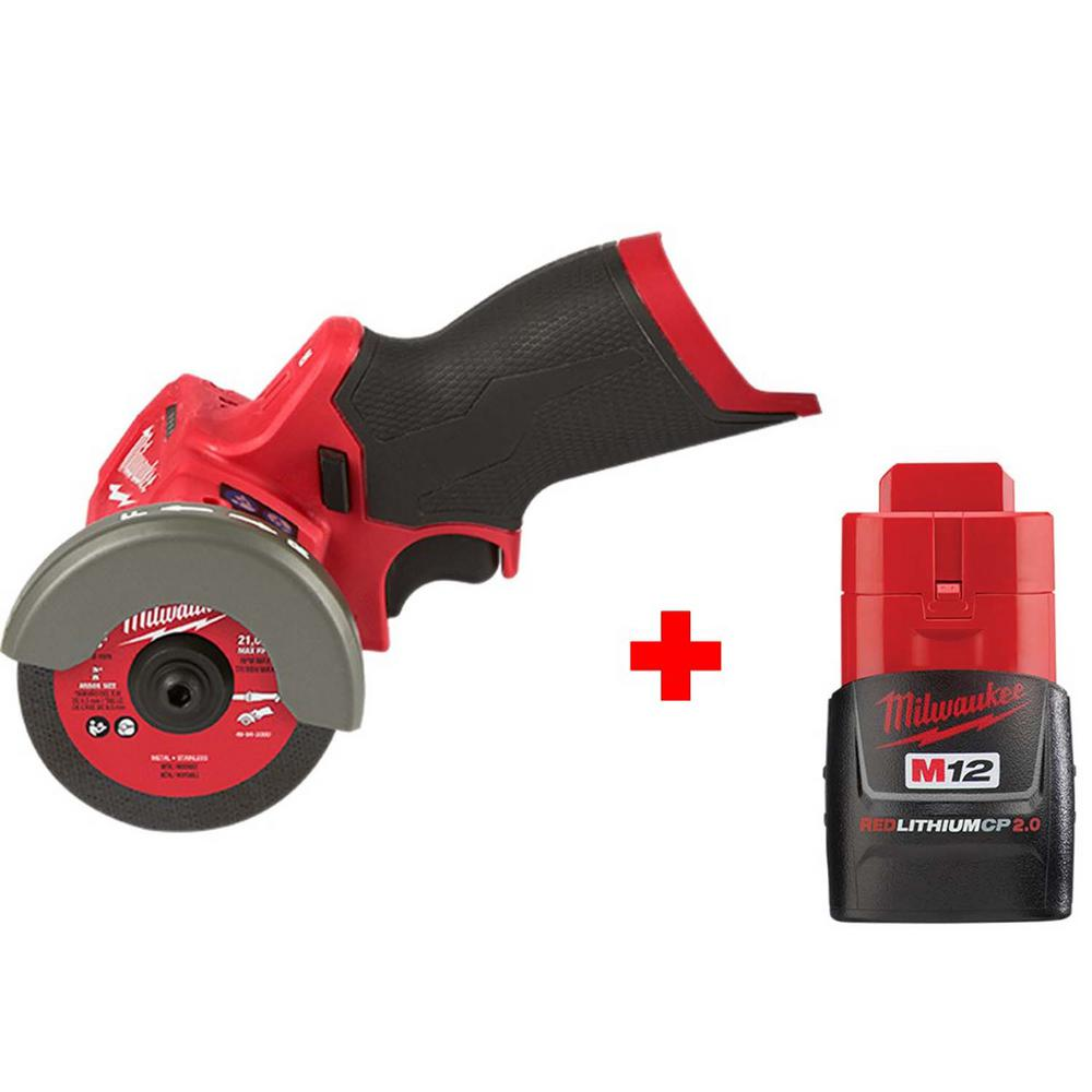 Milwaukee M12 FUEL 12-Volt 3 in. Lithium-Ion Brushless Cordless Cut Off Saw with Free M12 2.0 Ah Battery
