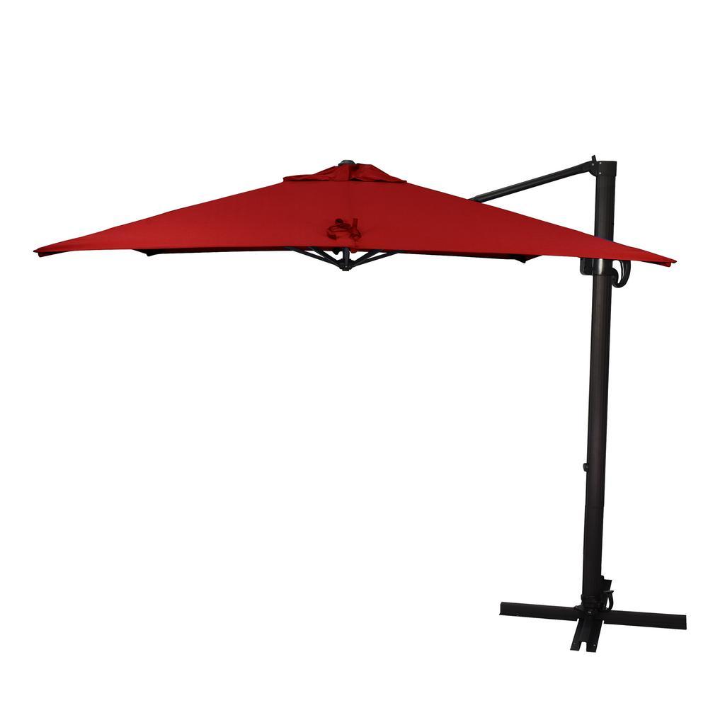 8.5 ft. Bronze Aluminum Square Cantilever Patio Umbrella with Crank Open Tilt Protective Cover in Jockey Red Sunbrella