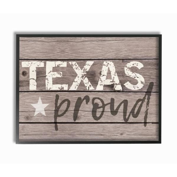 Texas Proud Typography Lone Star By Daphne Polselli Wood Framed Wall Art The Stupell Home Decor Collection