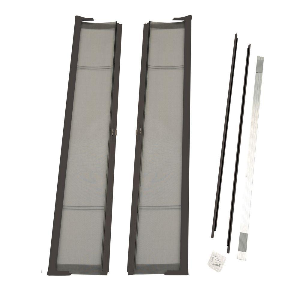 72 in. x 80 in. Brisa Brown Standard Height Double Door Kit Retractable Screen Door