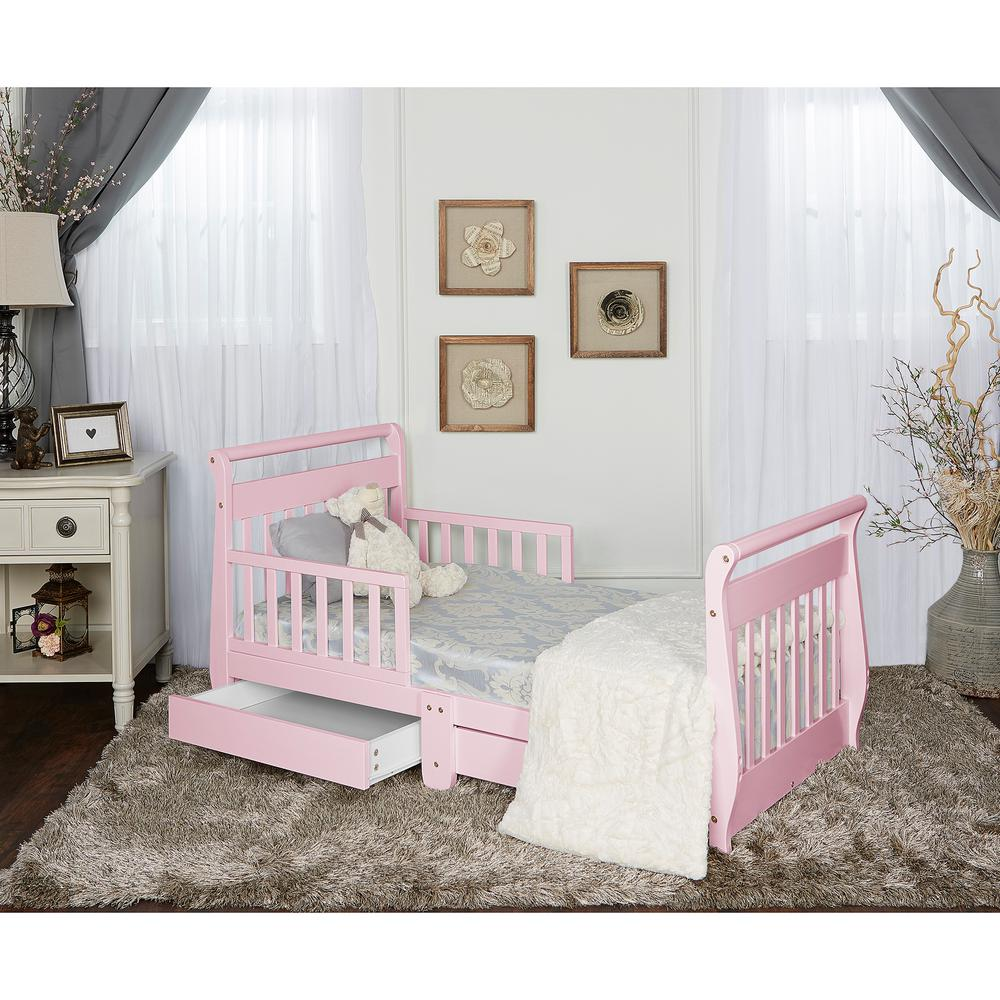 Dream On Me Pink Toddler Adjule Sleigh Bed With Storage Drawer