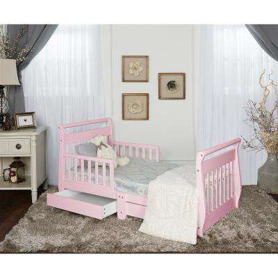 Pink Toddler Adjustable Sleigh Bed with Storage Drawer