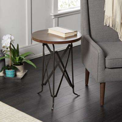 Oliver Wood and Metal Tripod Accent Table