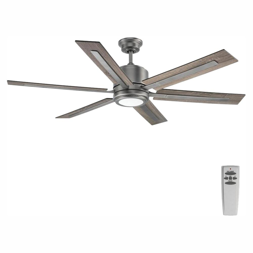 Progress Lighting Glandon 60 In Indoor Led Antique Nickel Ceiling Fan For Living Room With Light Kit And Remote