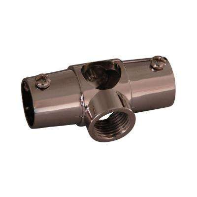 1 in. Brass Wall Tee for 4150 Shower Rod in Polished Nickel
