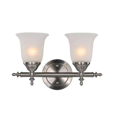 2-Light Brushed Nickel Bell Knob Double Wall Sconce