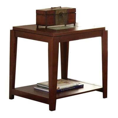 Ice Brown Glass Top End Table