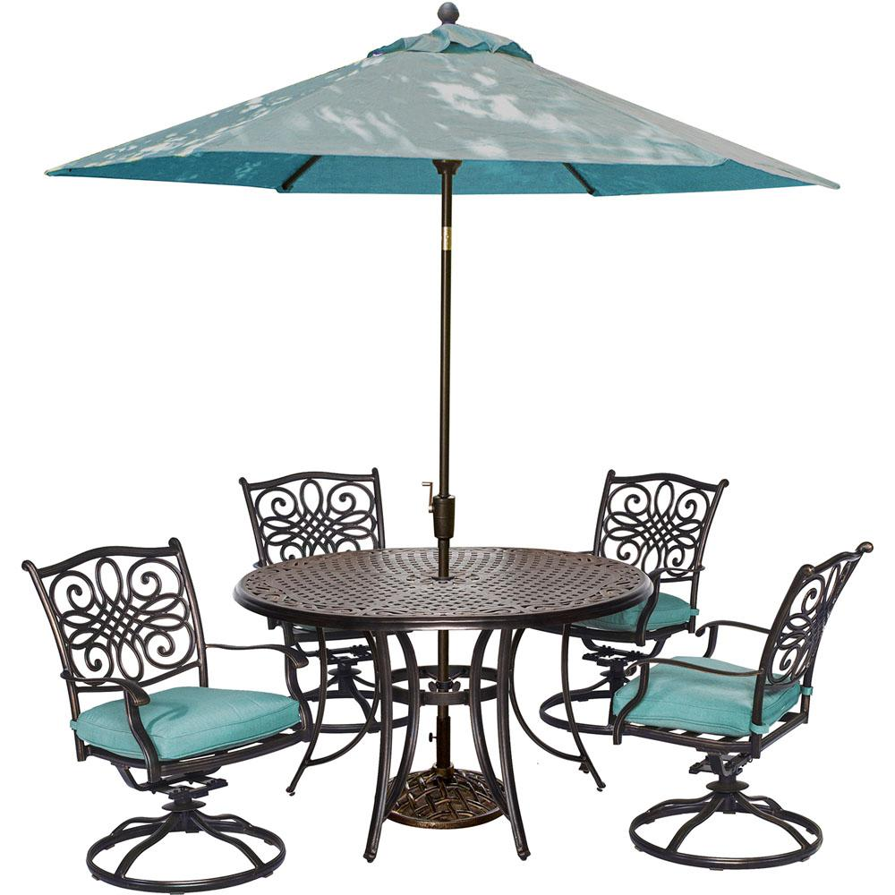 Cambridge Seasons 5-Piece All-Weather Round Patio Dining Set with Blue Cushions, 4 Swivel Rockers, Umbrella and Base