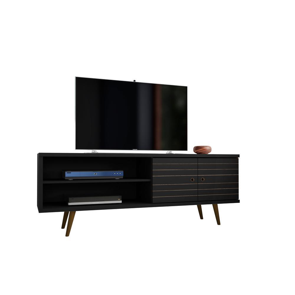Manhattan Comfort Liberty 62 99 In Black 3 Shelf Tv Stand 201amc8