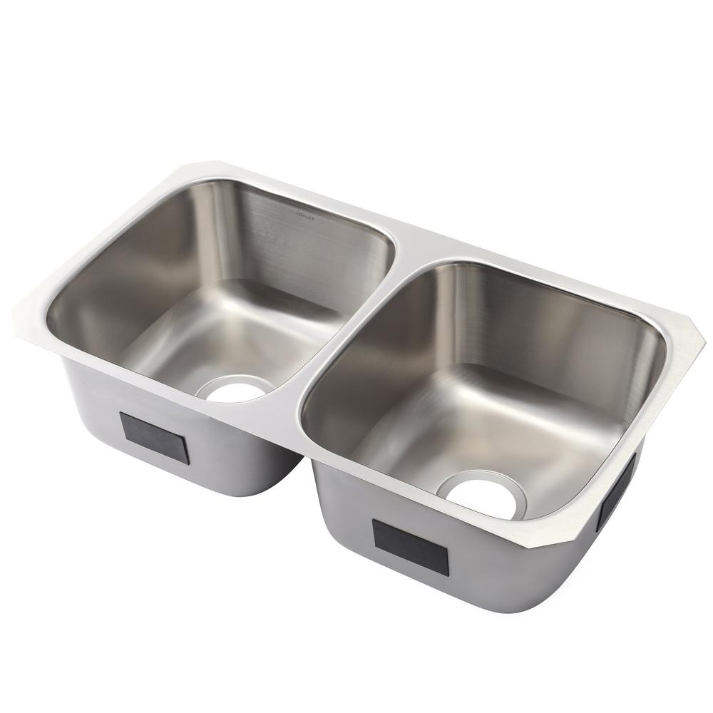 KOHLER Ballad Undermount Stainless Steel 32 in. 50/50 Double Bowl ...