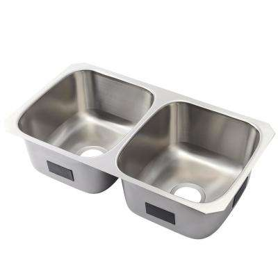 Ballad Undermount Stainless Steel 32 in. Double Bowl Kitchen Sink