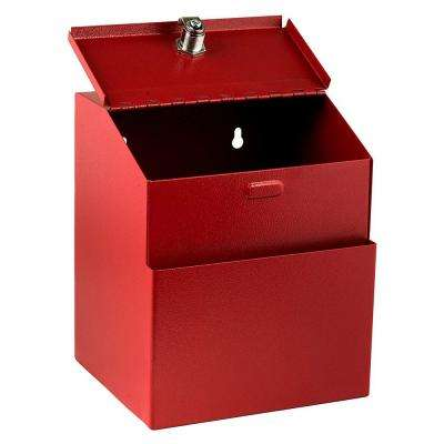 Wall Mountable Steel Locking Suggestion Box, Red