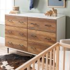 52 in. White/Rustic Oak Reclaimed 6-Drawer Storage