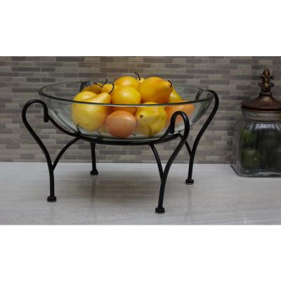 Modern Reflections Glass and Iron Decorative Bowl With Iron Stand