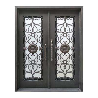 62 in. x 81 in. Aged Bronze Right-Hand Inswing 1 Lite Clear Double-Glazed Iron Prehung Front Door