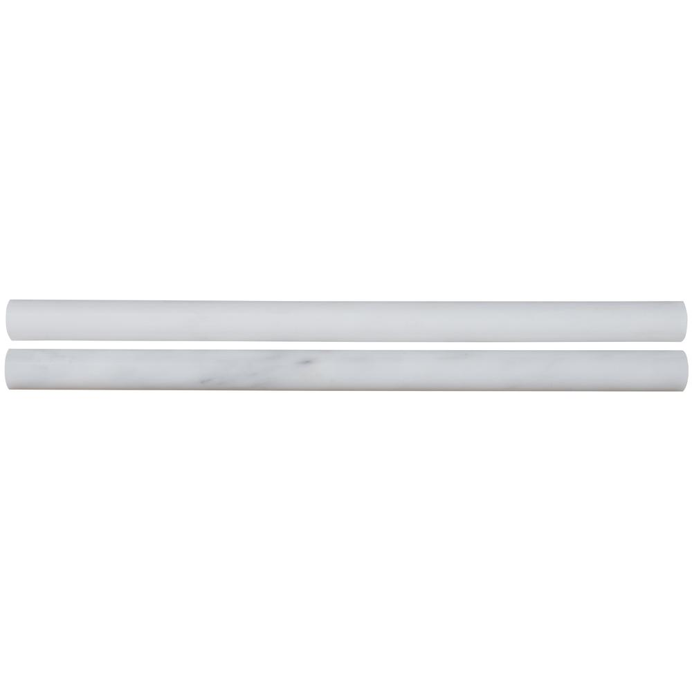 MSI Greecian White Pencil Molding 3/4 in. x 12 in. Polished Marble Wall Tile (1 lin. ft.)