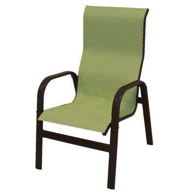 Marco Island Dark Cafe Brown Commercial Grade Aluminum Patio Dining Chair with Dupione Kiwi Sling (2-Pack)