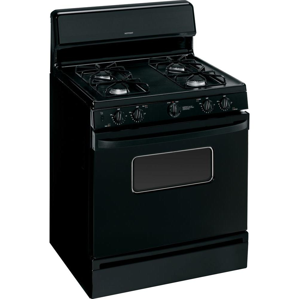 Hotpoint 4.8 cu. ft. Gas Range in Black on Black