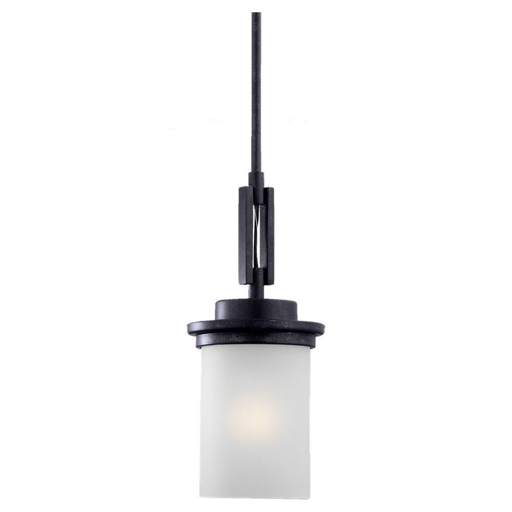 Sea Gull Lighting Winnetka 6 25 In W 1 Light Blacksmith Mini Pendant With Satin Etched Gl