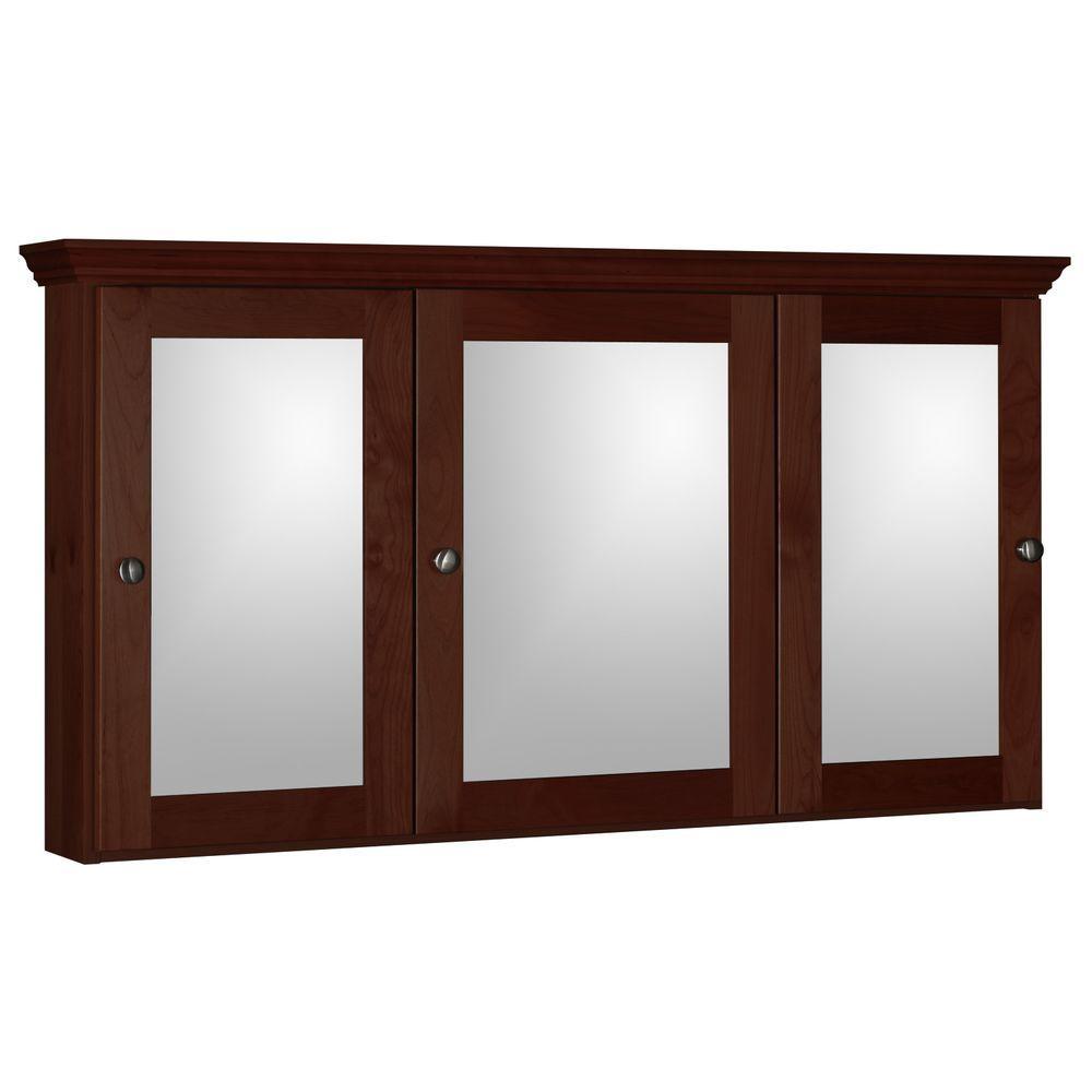 Shaker 48 in. W x 27 in. H x 6-1/2 in. D Framed Tri-View Surface-Mount Bathroom Medicine Cabinet in Dark Alder