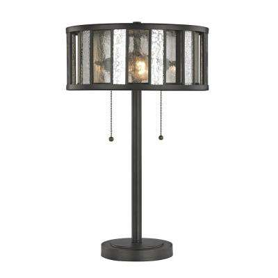 Edith 23 in. 2-Light Bronze Table Lamp with Silver Mercury and Clear Seedy Glass and Steel Shade
