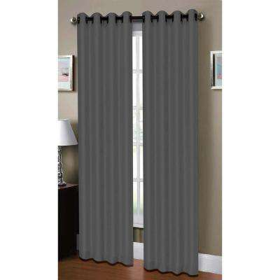Semi-Opaque Raphael Heathered Faux-Linen Extra-Wide 96 in. L Grommet Curtain Panel Pair, Charcoal (Set of 2)