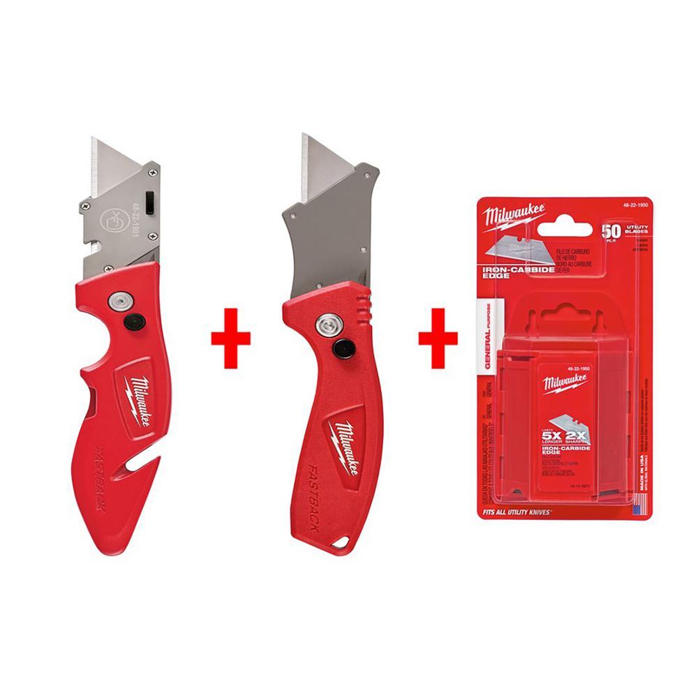 Milwaukee Fastback Flip Utility Knife Set with Utility Blades (50-Pack)
