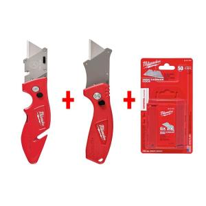 Milwaukee Fastback Flip Utility Knife Set with Utility Blades (50-Pack) by Milwaukee