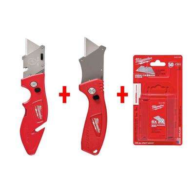 Fastback Flip Utility Knife Set with Utility Blades (50-Pack)