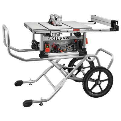 15 Amp  Corded Electric 10 in. Heavy Duty Worm Drive Table Saw with Stand