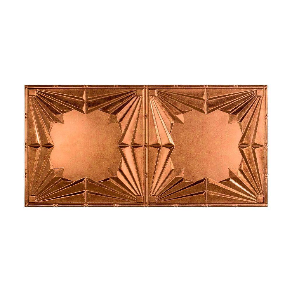 Fasade Art Deco 2 Ft X 4 Ft Glue Up Ceiling Tile In Antique