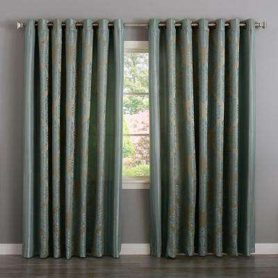 84 in. L Polyester Damask Jacquard Leaf Print Wide Curtain in Turquoise (2-Pack)