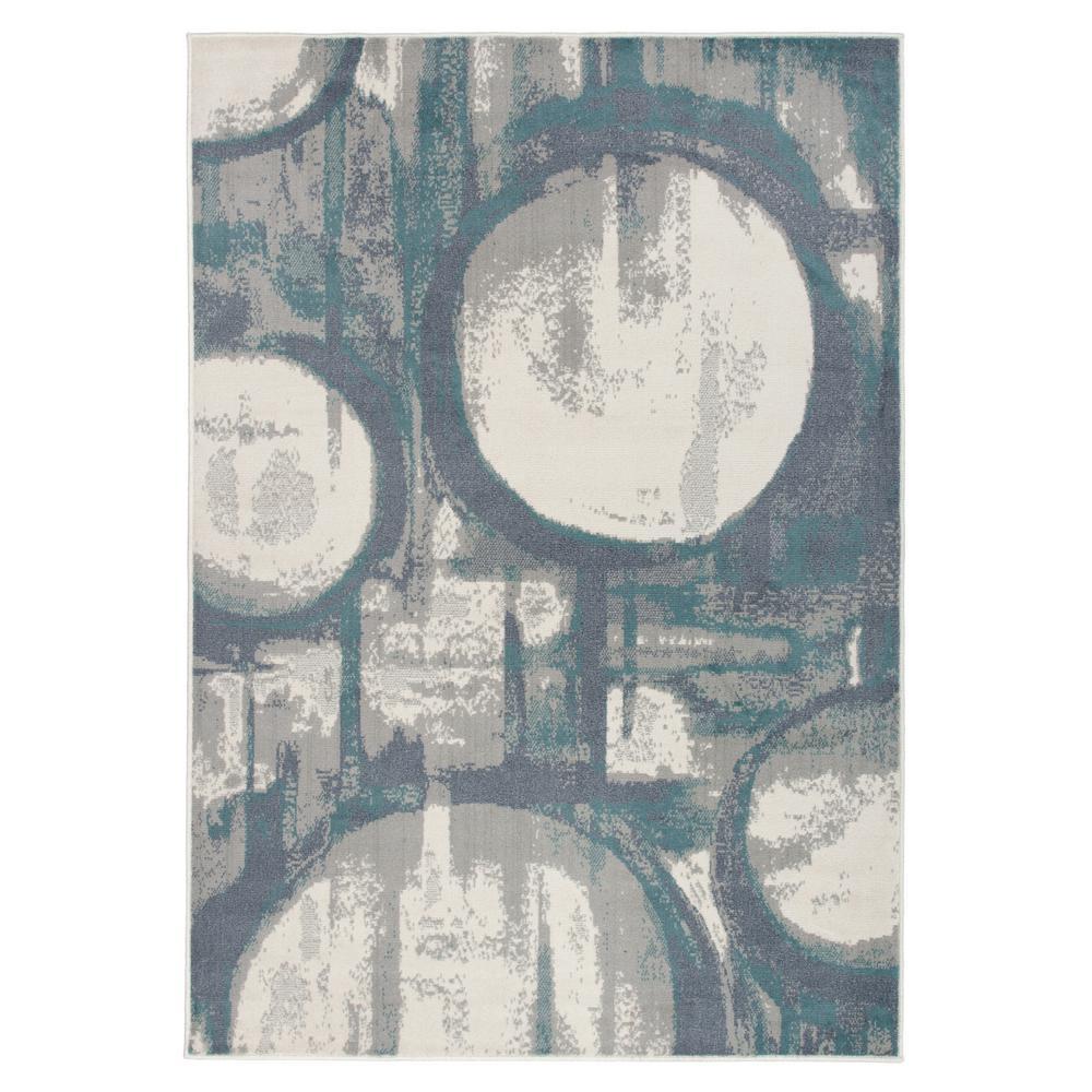 "Contemporary Distressed Circles Design Gray 7'10""x10' Area Rug"