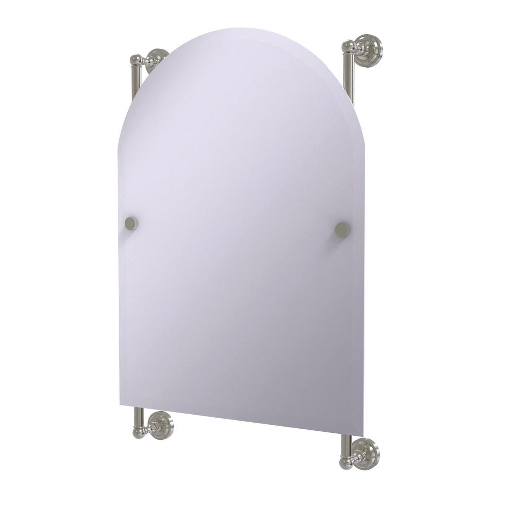 Dottingham Collection Arched Top Frameless Rail Mounted Mirror in Satin Nickel