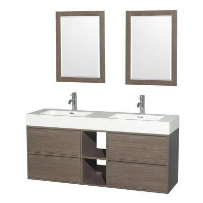 Daniella 60 in. W x 18 in. D Vanity in Gray Oak with Acrylic Vanity Top in White with White Basins and 24 in. Mirrors