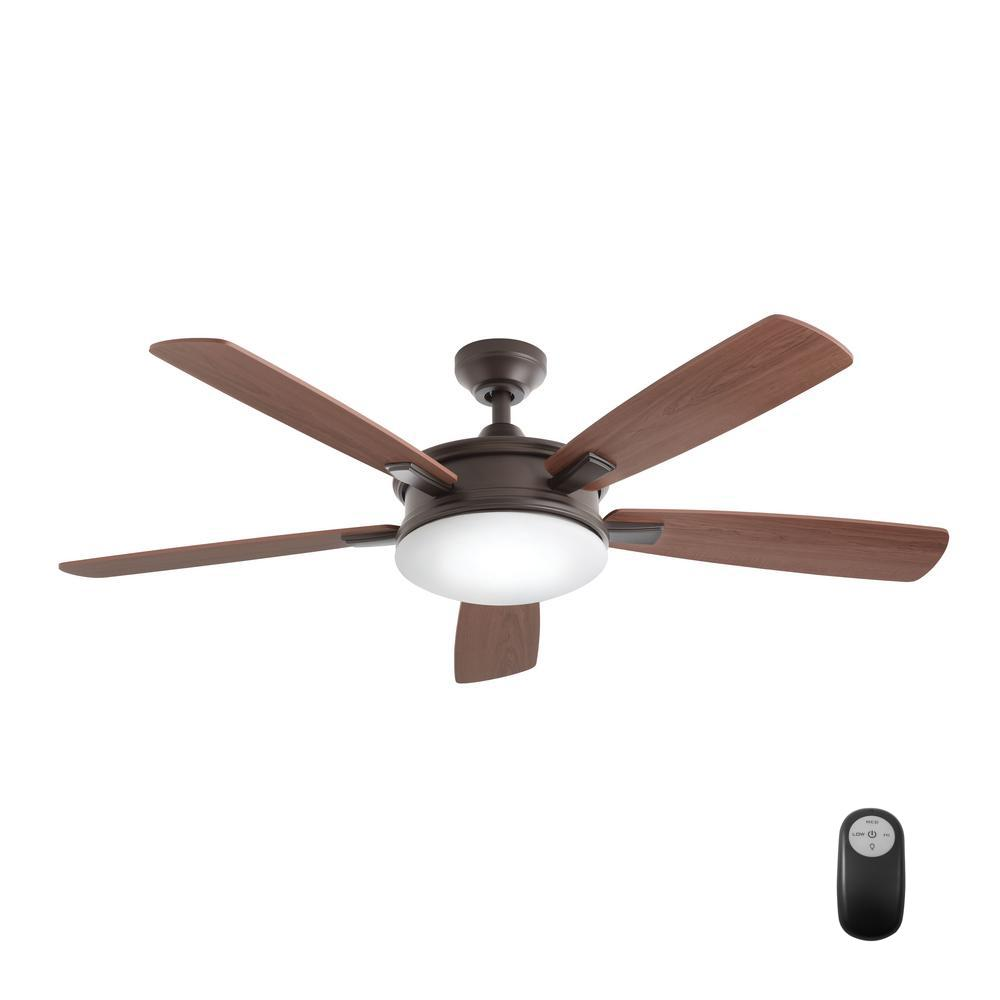Home Decorators Collection Daylesford 52 In Led Indoor Oiled Rubbed Bronze Ceiling Fan With Light